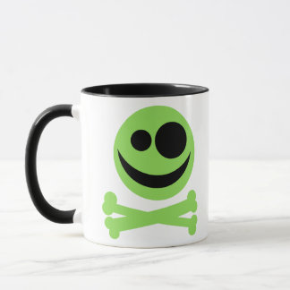 Skull and Crossbones. Green and Black. Mug