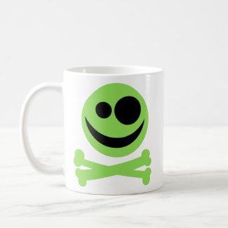 Skull and Crossbones. Green and Black. Classic White Coffee Mug
