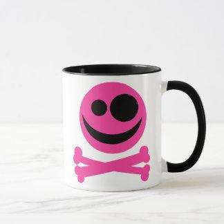 Skull and Crossbones. Hot Pink and Black. Mug