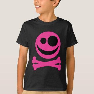 Skull and Crossbones. Hot Pink and Black. T-Shirt