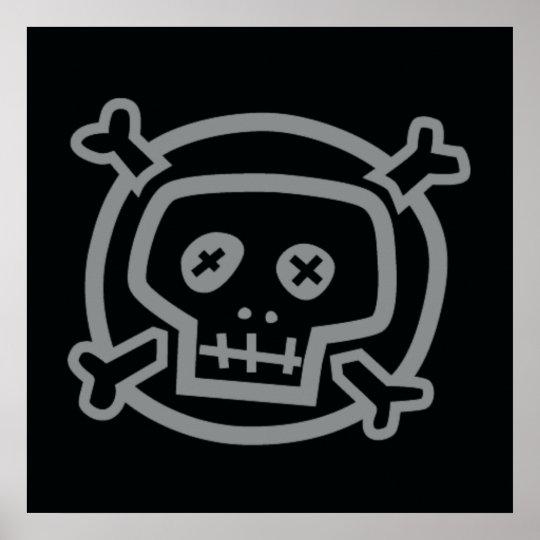 Skull and Crossbones on Black Poster