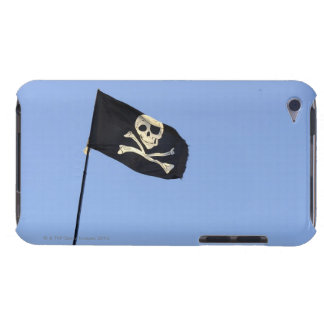Skull and crossbones on Pirate's flag on blue iPod Case-Mate Cases