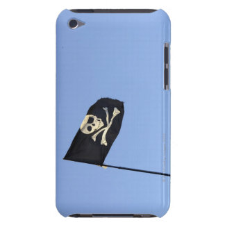 Skull and crossbones on Pirate's flag on blue iPod Touch Case