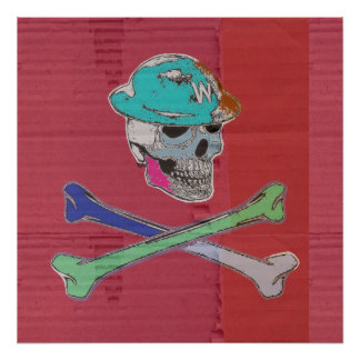 Skull and Crossbones on Virtual Card Poster