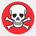 Skull and Crossbones Pirate Round Sticker