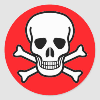 Skull and Crossbones Pirate Round Sticker
