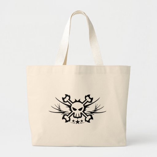 Skull and Crossbones Pirate Tattoo Canvas Bags