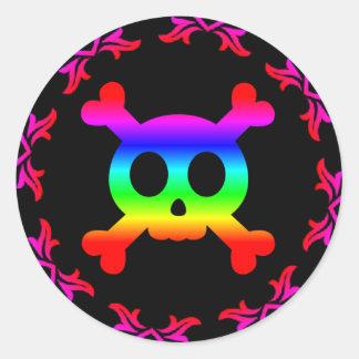 Skull and Crossbones Rainbow Sticker