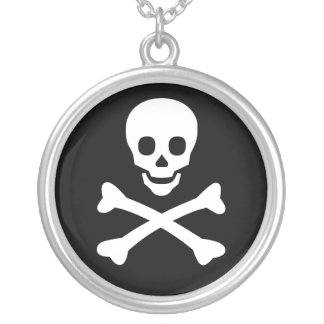 Skull and Crossbones Round Pendant Necklace