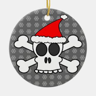 Skull and Crossbones Santa Hat Grey Snowflakes Christmas Ornament