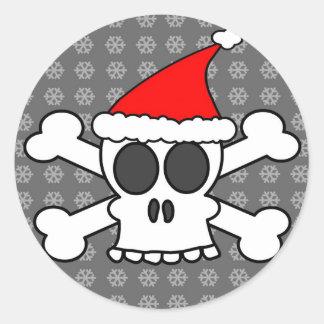 Skull and Crossbones Santa Hat Round Sticker