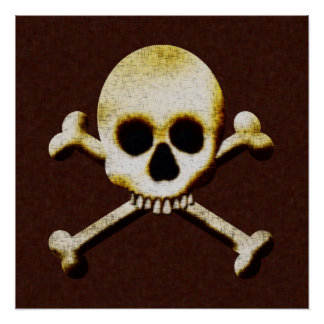 Skull And Crossbones Scary Halloween Haunted House Poster