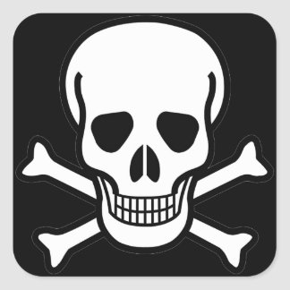 Skull and Crossbones Square Sticker