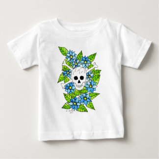 Skull and Crossbones with Flowers Baby T-Shirt