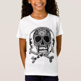 Skull and Crossbones with Headphones Girls Shirt