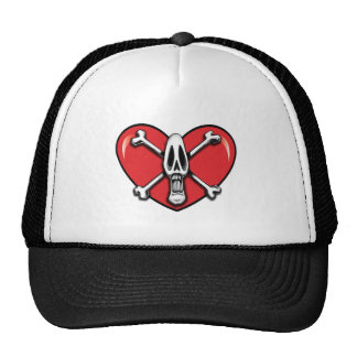 Skull and Crossbones with Heart Cap