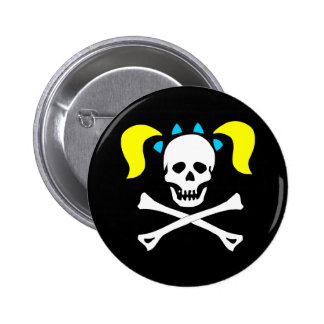 Skull and Crossbones With Pigtails 6 Cm Round Badge