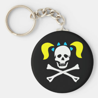 Skull and Crossbones With Pigtails Key Ring