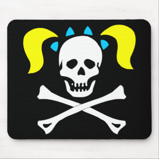 Skull and Crossbones With Pigtails Mouse Mat