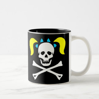 Skull and Crossbones With Pigtails Coffee Mugs
