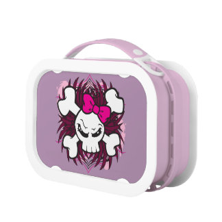 Skull and Crossbones with Pink Bow plus Tribal Lunch Box