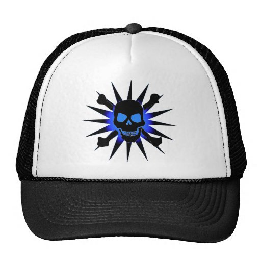 Skull and Crossbones with Starburst Mesh Hat