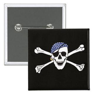 Skull and Crossed Bones Pirate Flag 15 Cm Square Badge