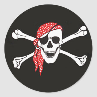 Skull and Crossed Bones Pirate Flag Classic Round Sticker