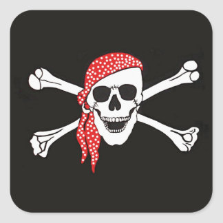 Skull and Crossed Bones Pirate Flag Square Sticker