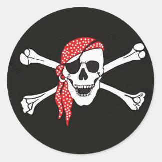 Skull and Crossed Bones Pirate Flag Round Stickers