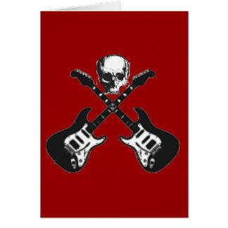 Skull and crossed guitars pirate card
