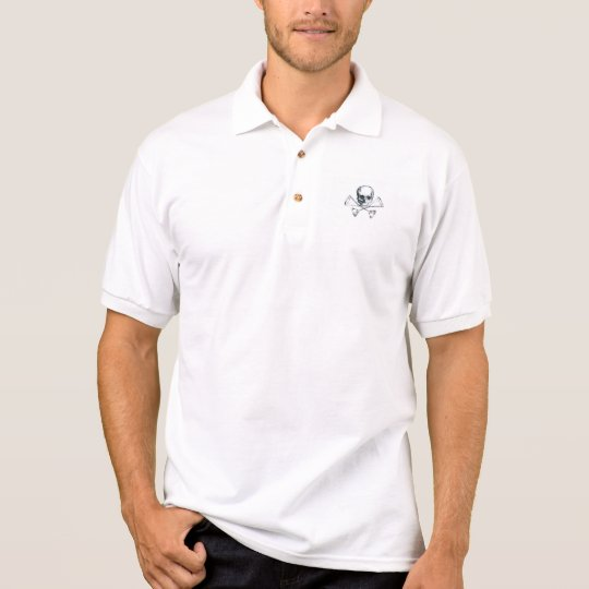 skull and crossed martinis polo shirt