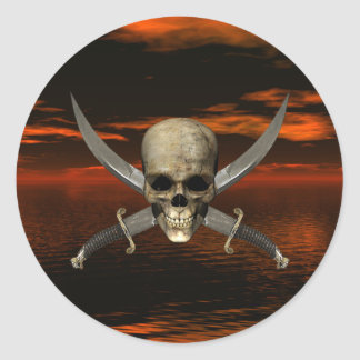 Skull and Crossed Swords w/Red Sky Background 1 Classic Round Sticker