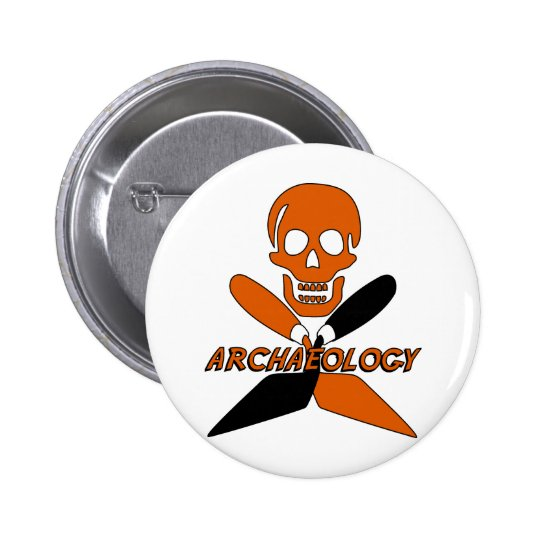 Skull and Crossed Trowels Archaeology 6 Cm Round Badge