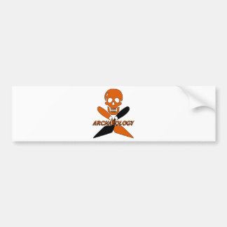Skull and Crossed Trowels Archaeology Bumper Sticker