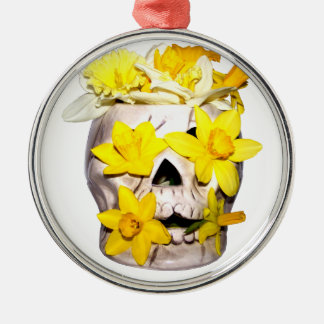 Skull and Daffodils Silver-Colored Round Decoration