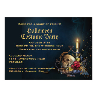 Skull and Fall Leaves Halloween Party 13 Cm X 18 Cm Invitation Card