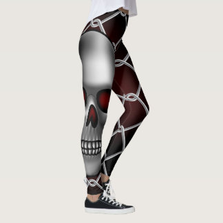 Skull and Fence Design Leggings