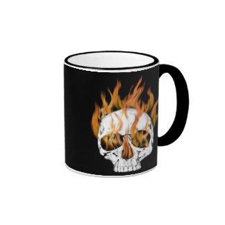 Skull and Fire Ringer Mug