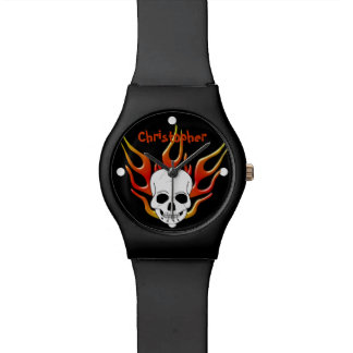 Skull And Flames Just Add Name Watch