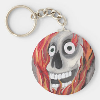 Skull and Flames Basic Round Button Key Ring