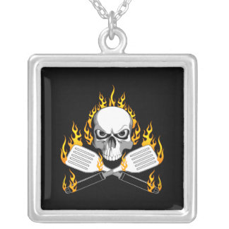 Skull and Flaming Spatulas Square Pendant Necklace