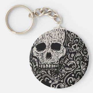 Skull and Flora Etching Basic Round Button Key Ring