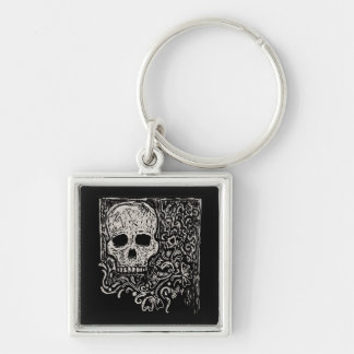 Skull and Flora Etching Silver-Colored Square Key Ring