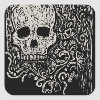Skull and Flora Etching Square Stickers
