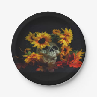 Skull and Flowers Paper Plates 7 Inch Paper Plate