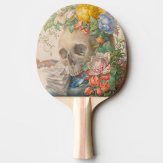 Skull and Flowers Table Tennis Paddle