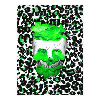 Skull and Green Flowers on Leopard Spots 14 Cm X 19 Cm Invitation Card