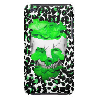 Skull and Green Flowers on Leopard Spots iPod Touch Cover