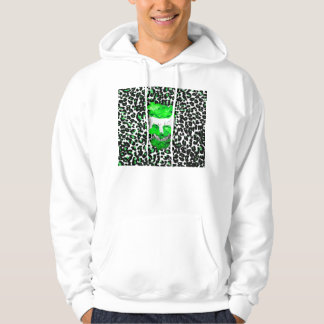 Skull and Green Flowers on Leopard Spots Hooded Sweatshirt